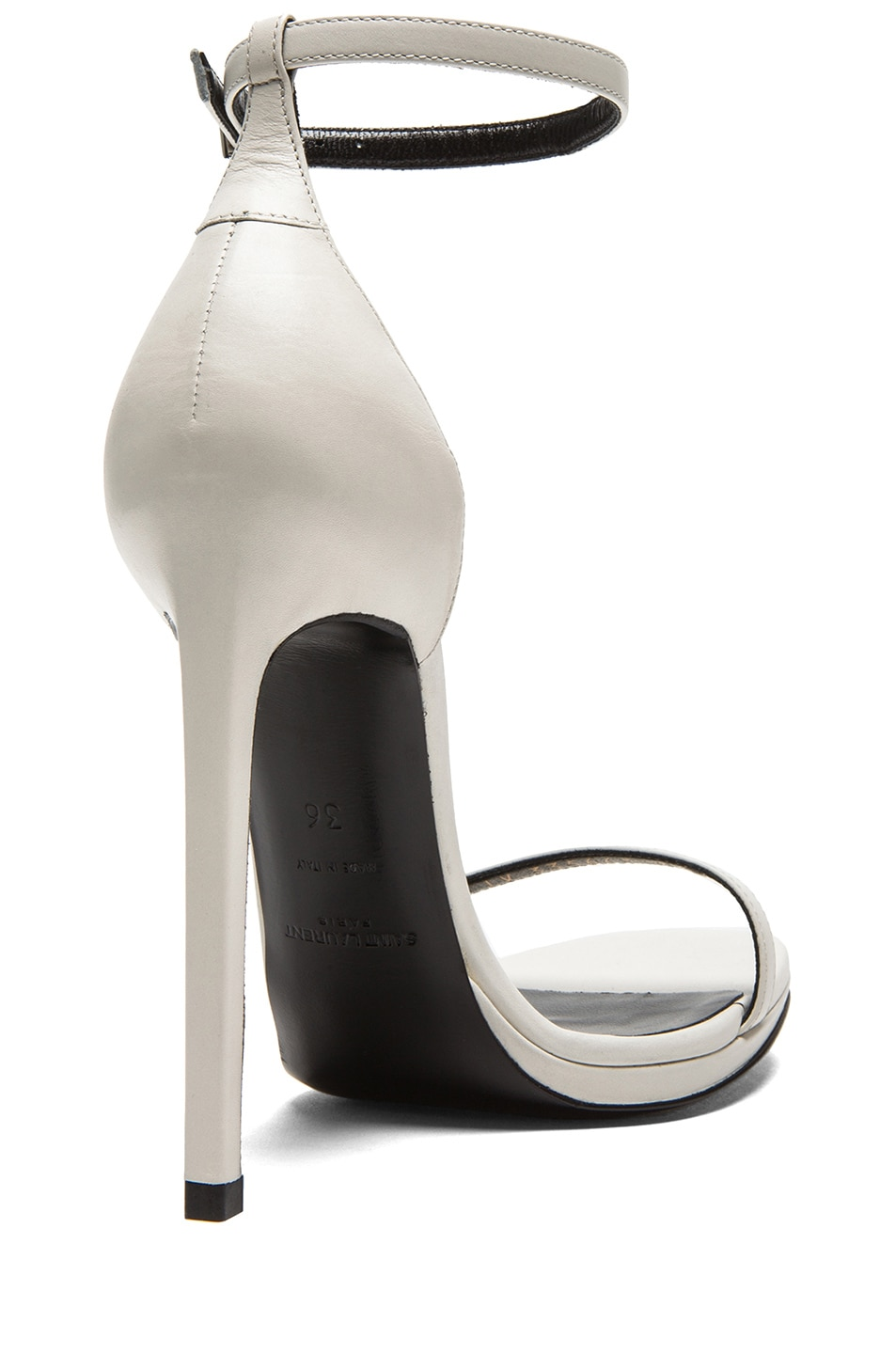 Image 3 of Saint Laurent Jane Leather Ankle Strap Sandals in White