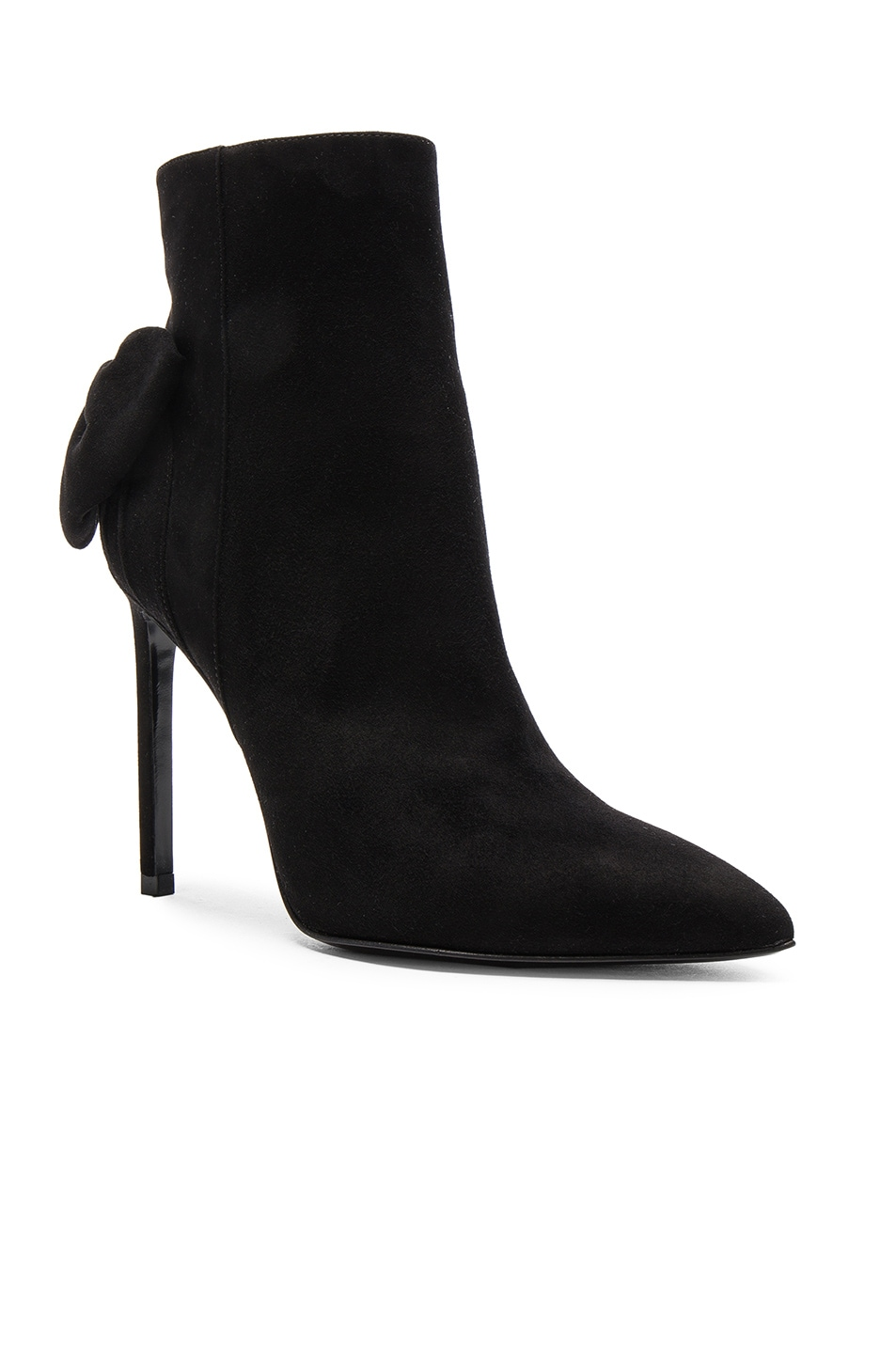 Image 2 of Saint Laurent Paris Skinny Bow Suede Booties in Black
