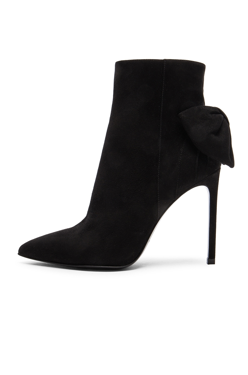 Image 5 of Saint Laurent Paris Skinny Bow Suede Booties in Black