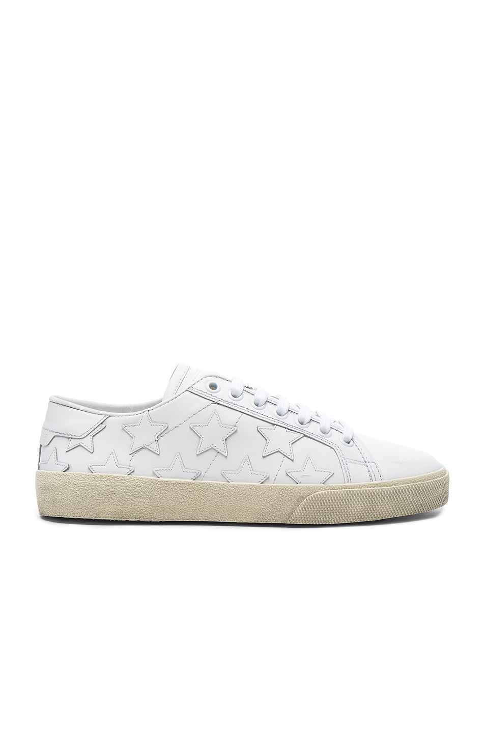 Image 1 of Saint Laurent Leather Court Classic Star Sneakers in Off White