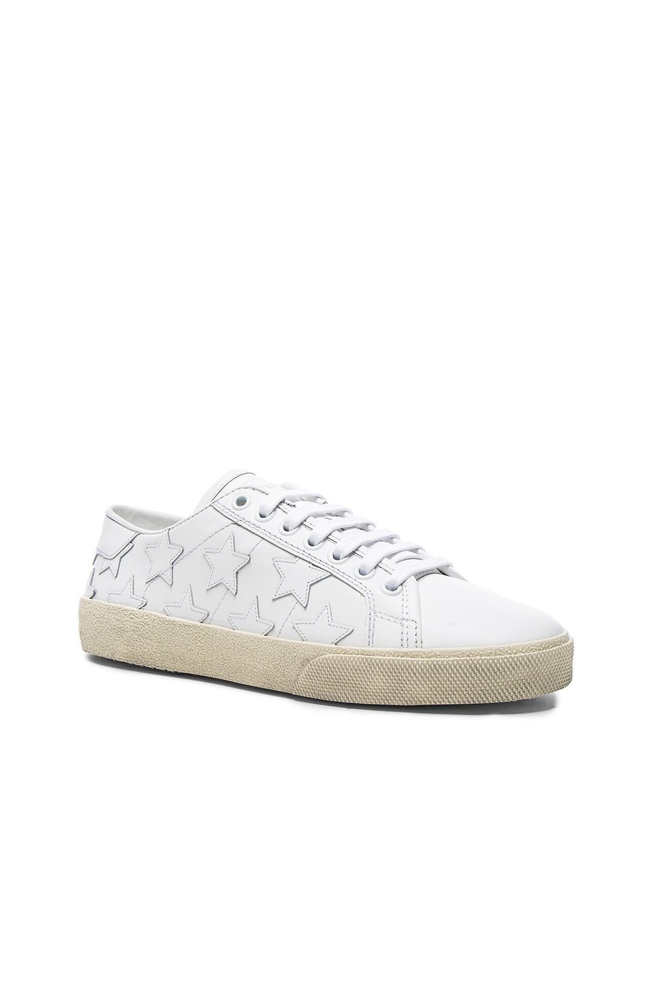 Image 2 of Saint Laurent Leather Court Classic Star Sneakers in Off White