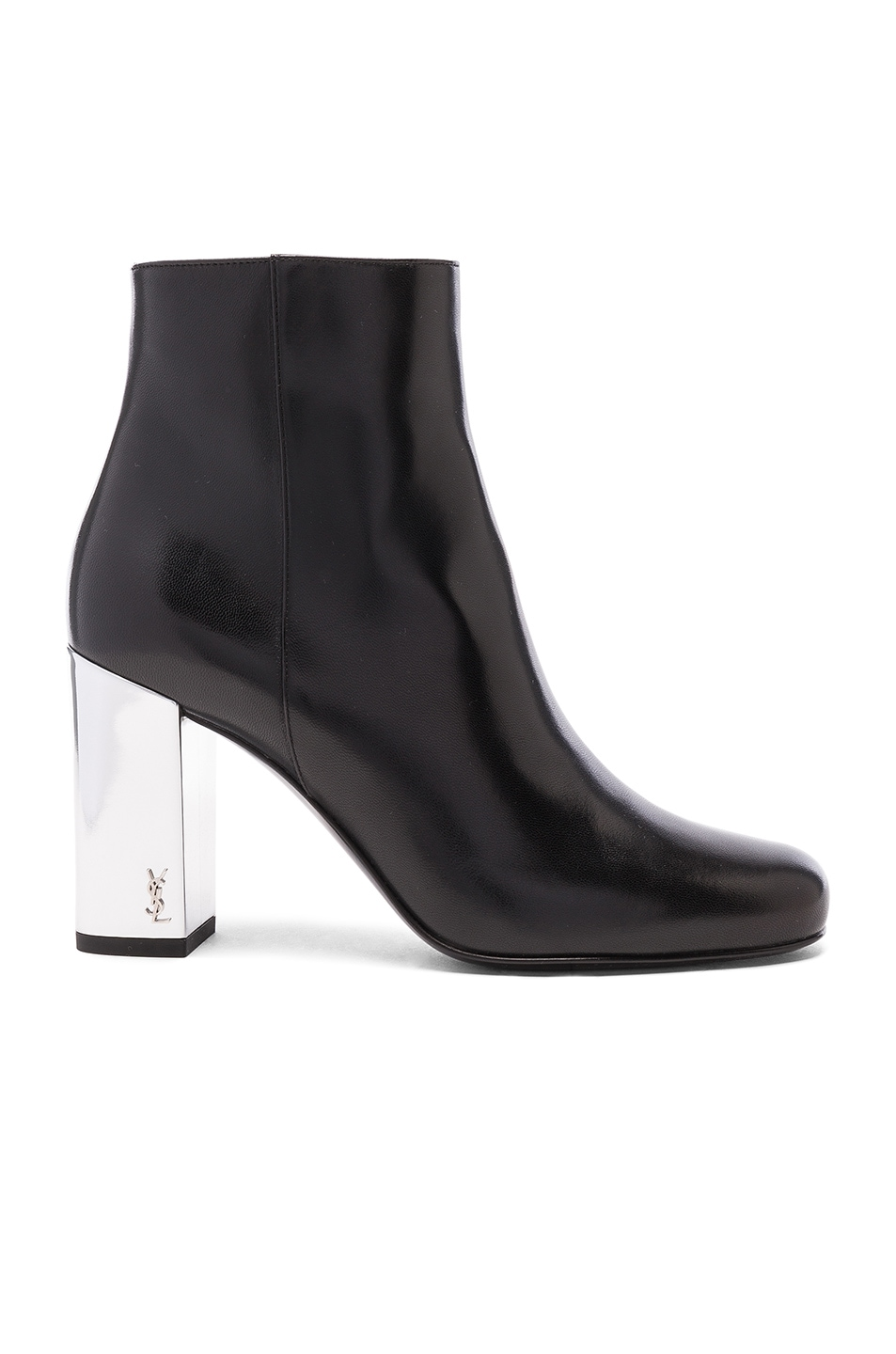 Image 1 of Saint Laurent Leather Babies Pin Boots in Black & Silver