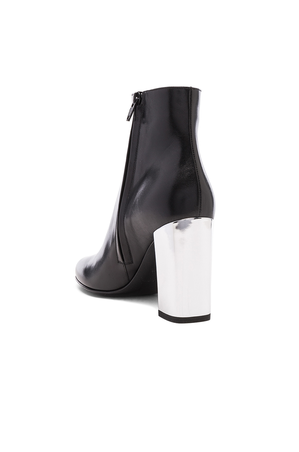 Image 3 of Saint Laurent Leather Babies Pin Boots in Black & Silver