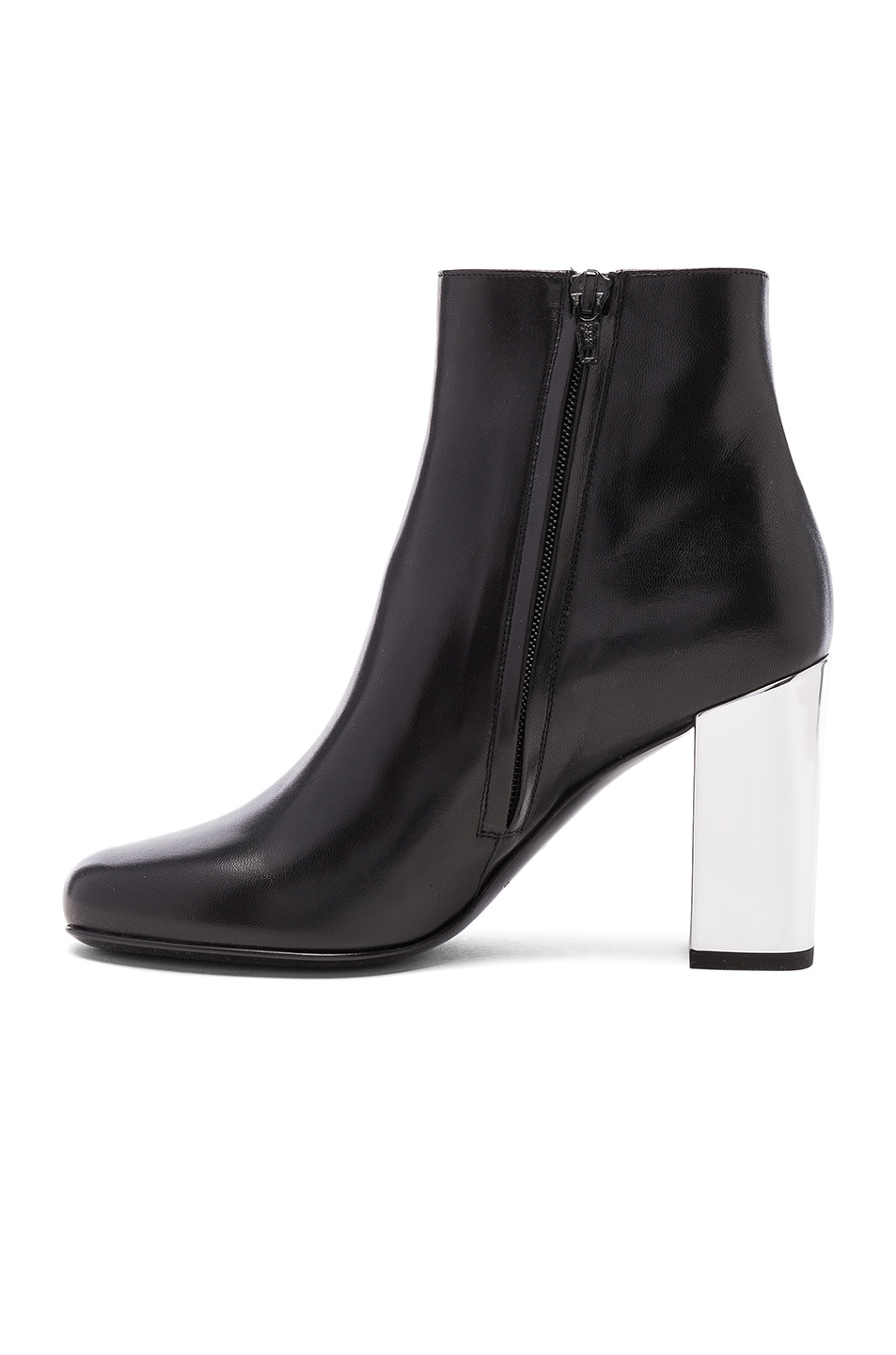 Image 5 of Saint Laurent Leather Babies Pin Boots in Black & Silver
