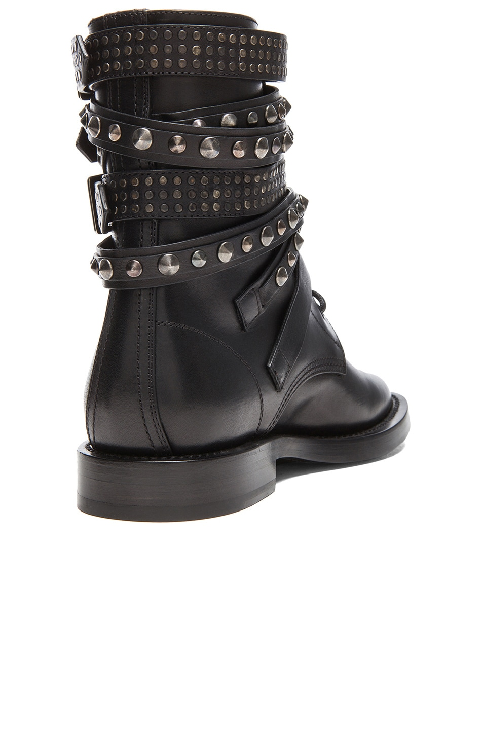 Image 3 of Saint Laurent Rangers Studded Leather Combat Boots in Black