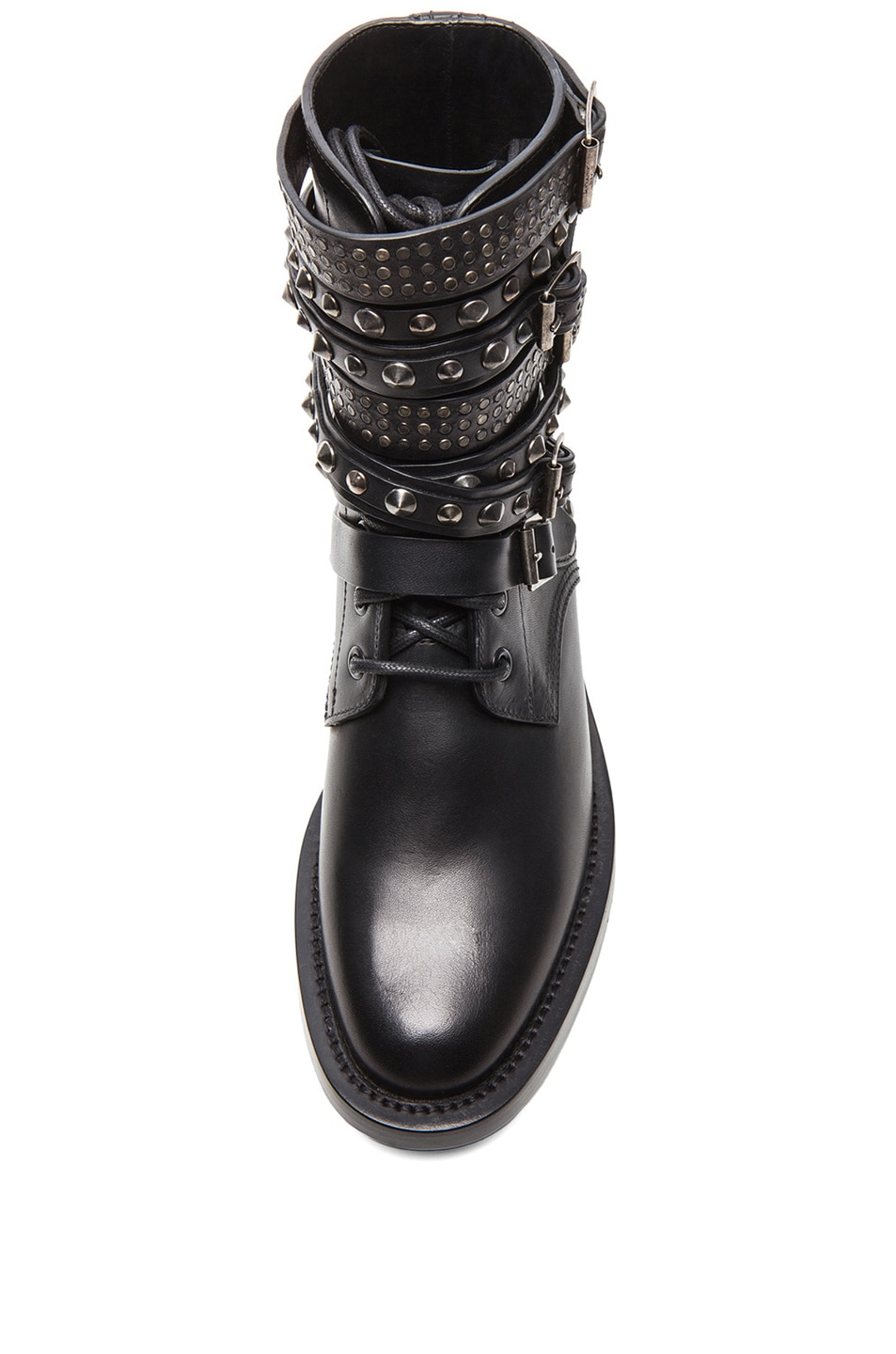 Image 4 of Saint Laurent Rangers Studded Leather Combat Boots in Black