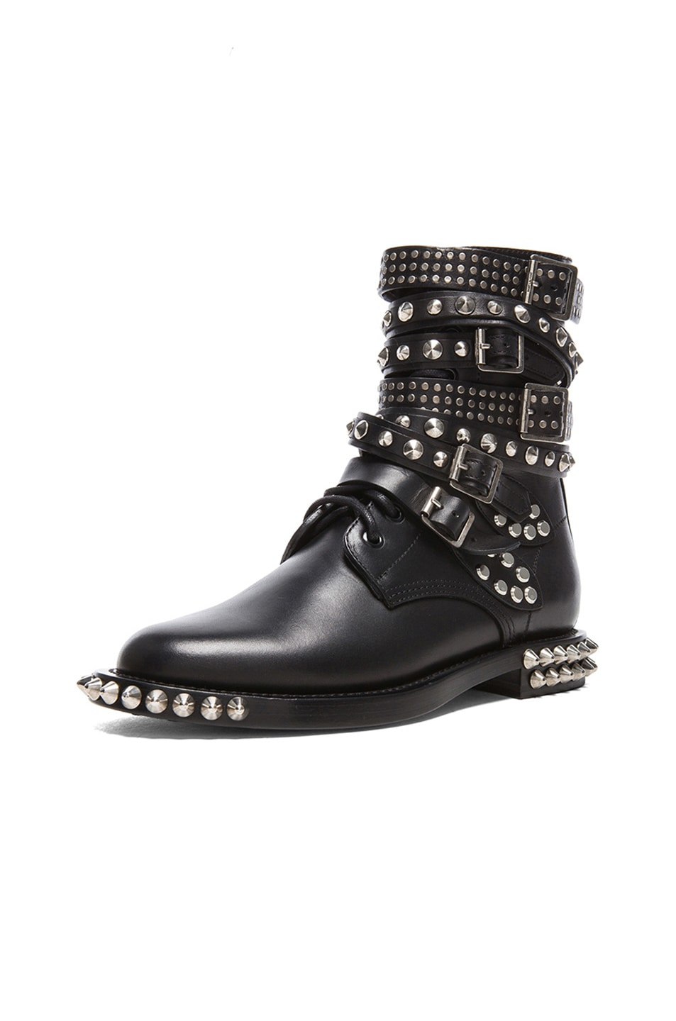 Image 2 of Saint Laurent Rangers Double Studded Leather Combat Boots in Black