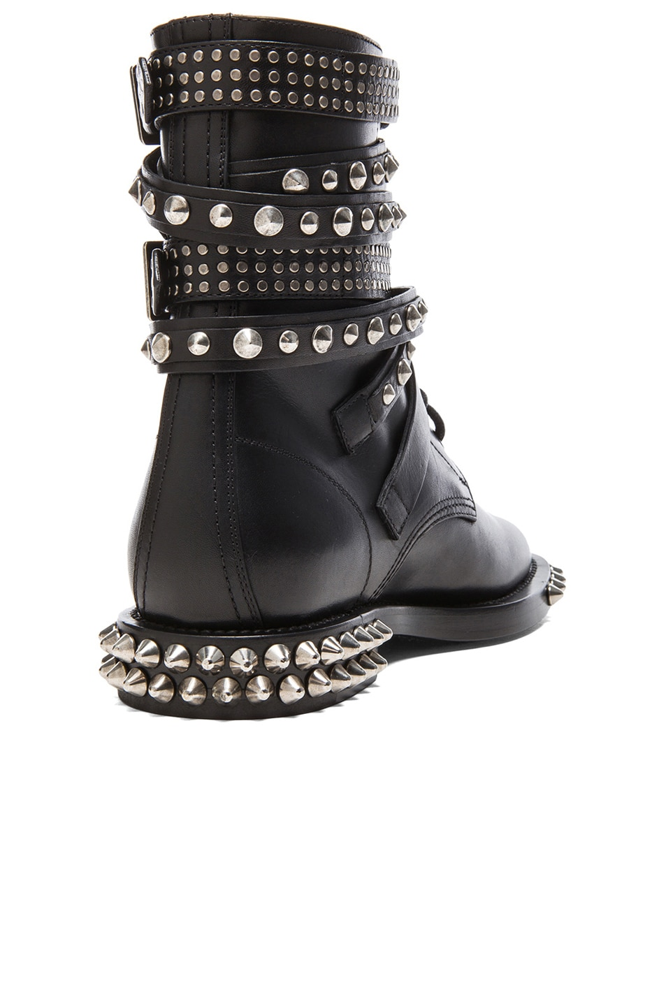 Image 3 of Saint Laurent Rangers Double Studded Leather Combat Boots in Black