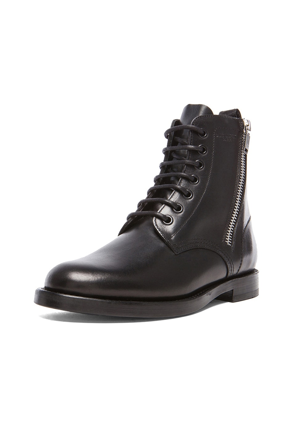 Image 2 of Saint Laurent Leather Ranger Zipper Combat Leather Boots in Black