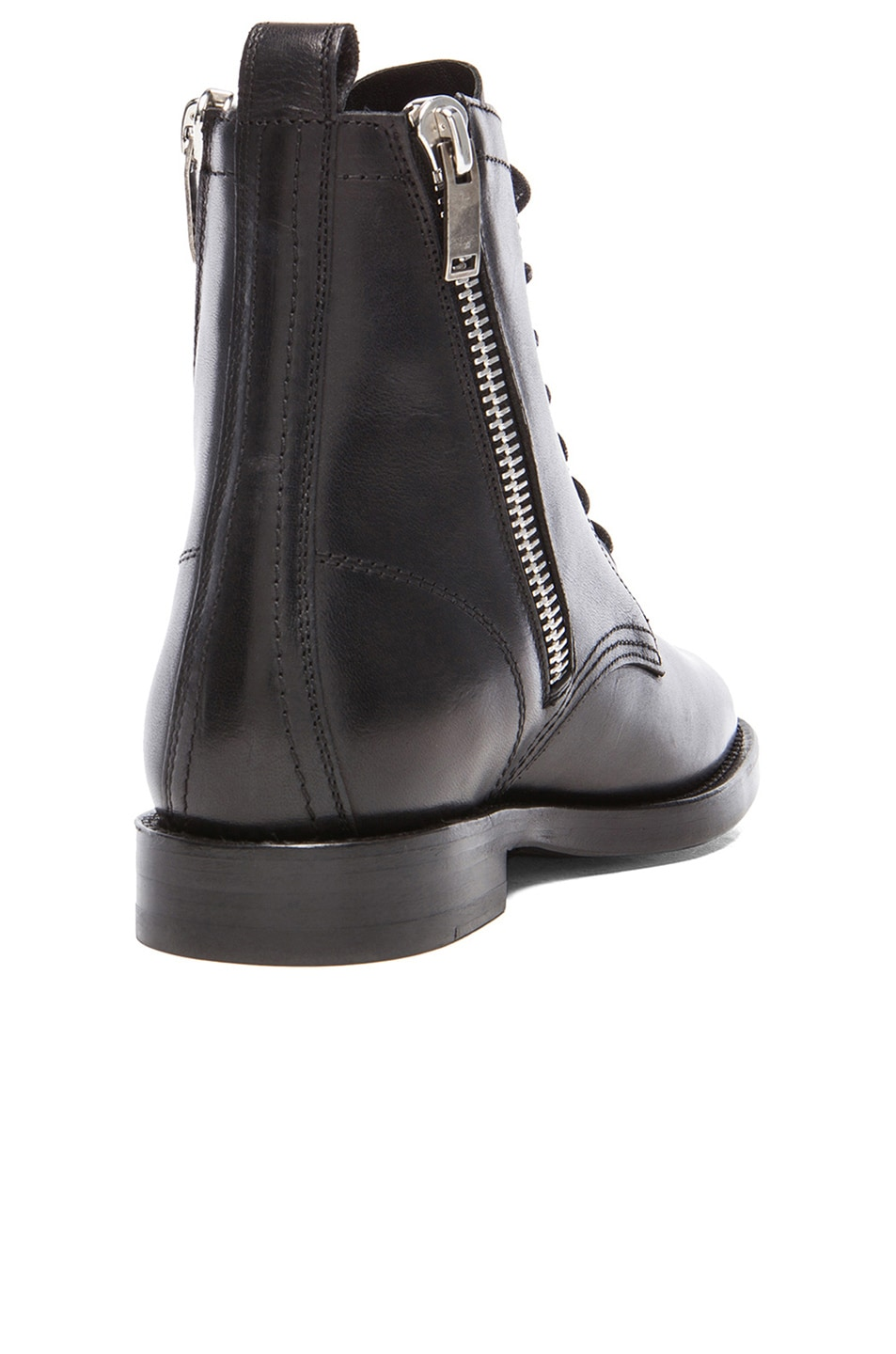 Image 3 of Saint Laurent Leather Ranger Zipper Combat Leather Boots in Black