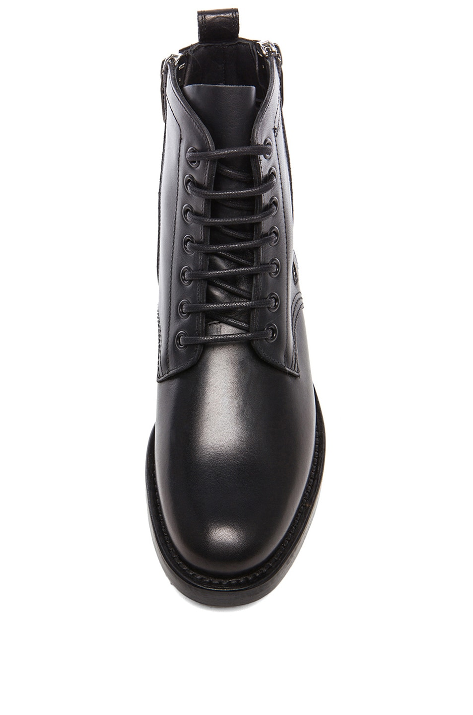 Image 4 of Saint Laurent Leather Ranger Zipper Combat Leather Boots in Black