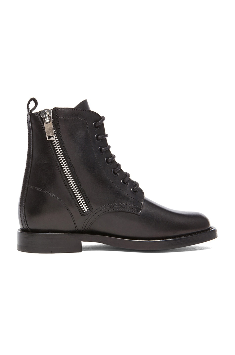 Image 5 of Saint Laurent Leather Ranger Zipper Combat Leather Boots in Black