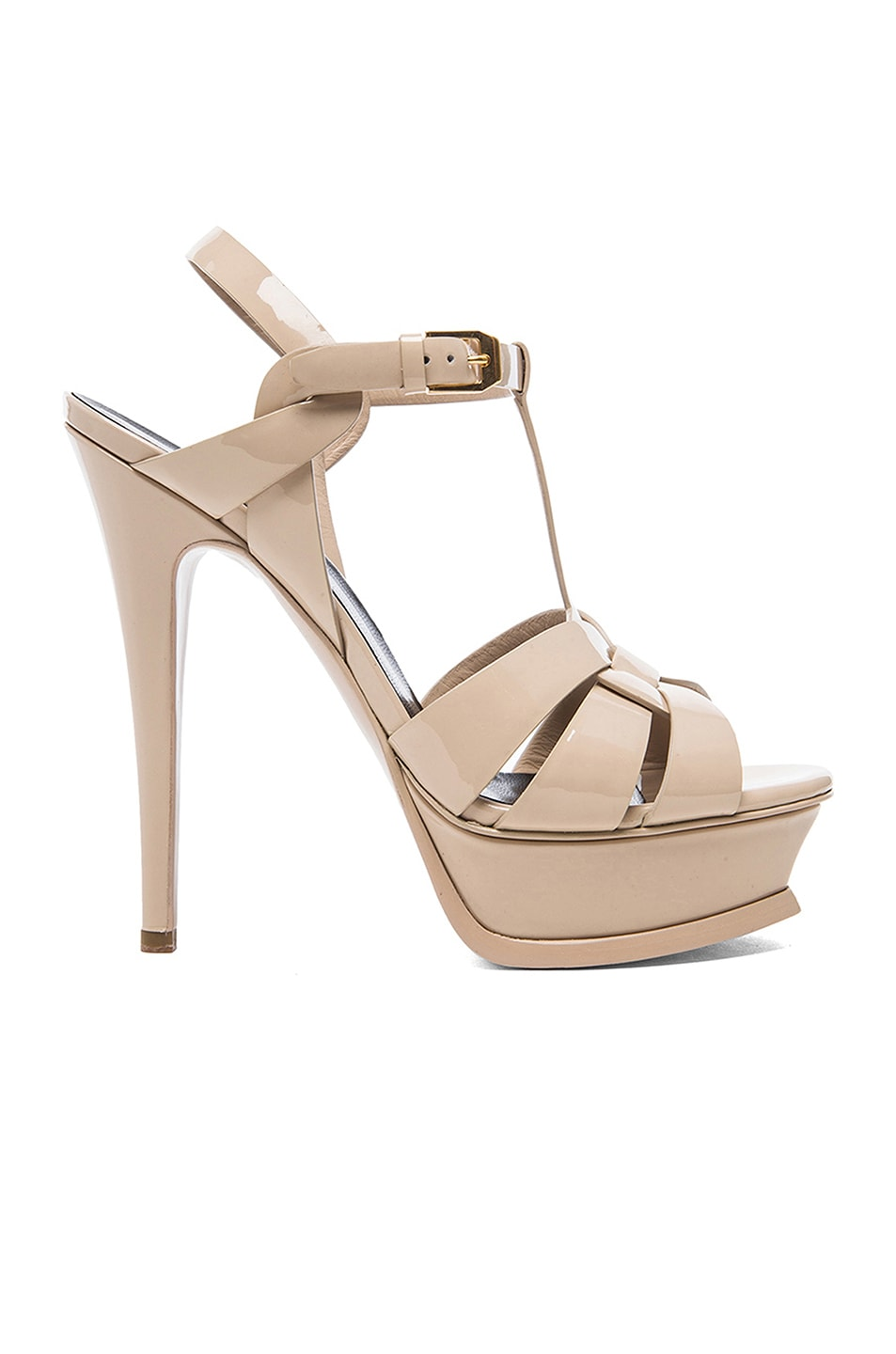 Image 1 of Saint Laurent Tribute Patent Leather Platform Sandals in Poudre