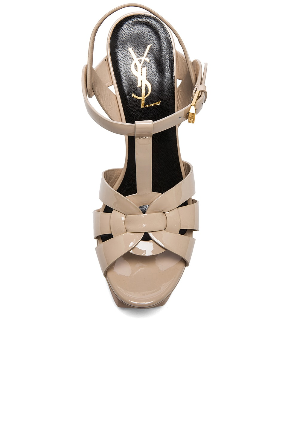 Image 4 of Saint Laurent Tribute Patent Leather Platform Sandals in Poudre