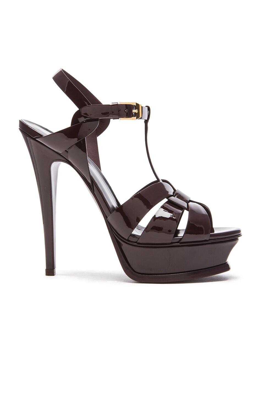 Image 1 of Saint Laurent Tribute Patent Leather Platform Sandals in Bordeaux