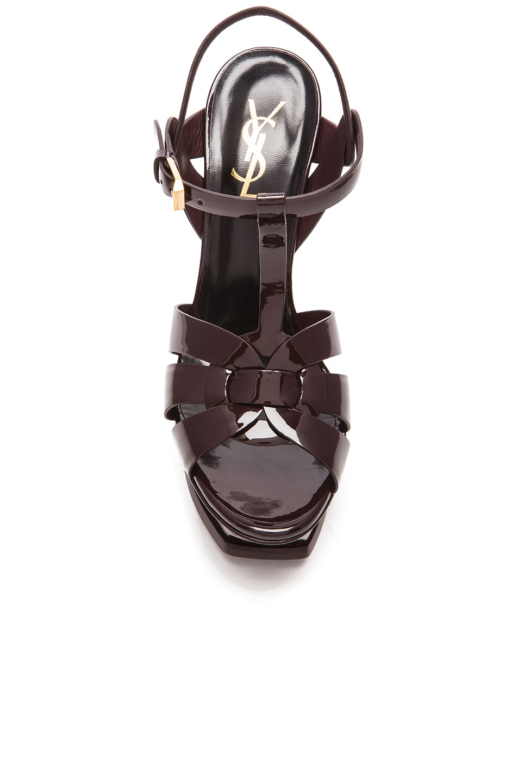 Image 4 of Saint Laurent Tribute Patent Leather Platform Sandals in Bordeaux