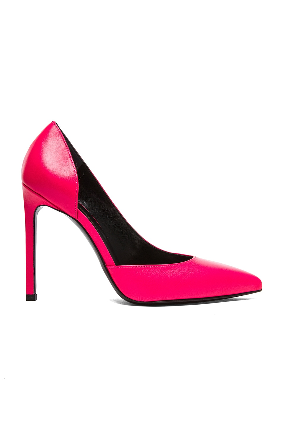 Image 1 of Saint Laurent Paris D'Orsay Calfskin Leather Heels in Neon Pink