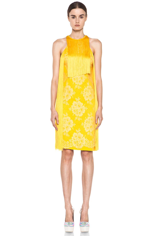 Image 1 of Stella McCartney Mix Cady Lace Fringe Dress in Citrus