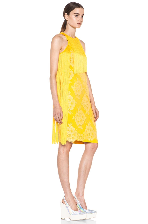 Image 3 of Stella McCartney Mix Cady Lace Fringe Dress in Citrus