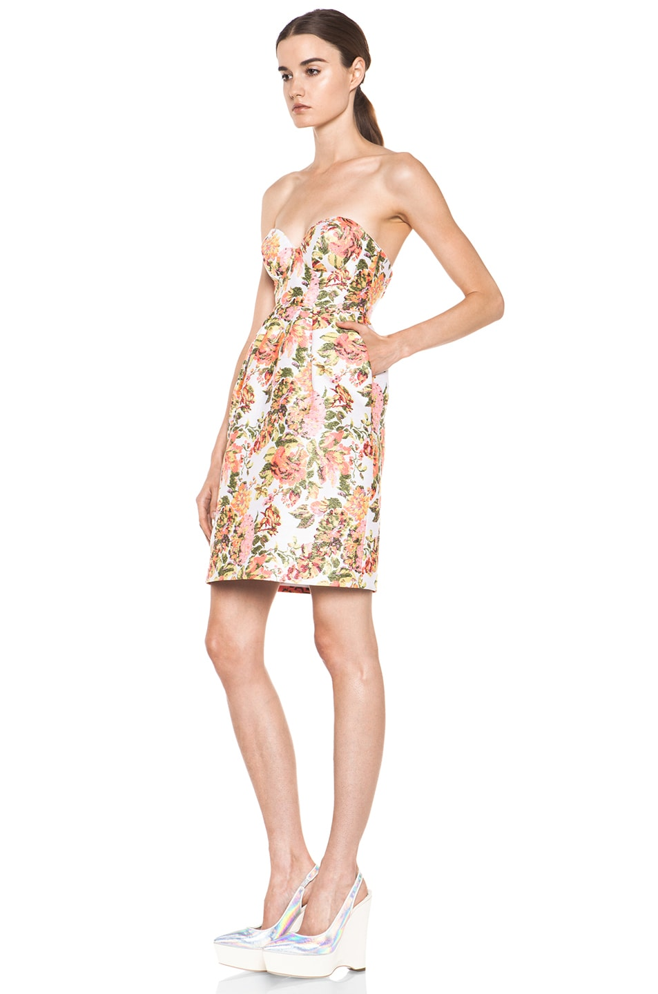 Image 2 of Stella McCartney Floral Jacquard Dress in Coral
