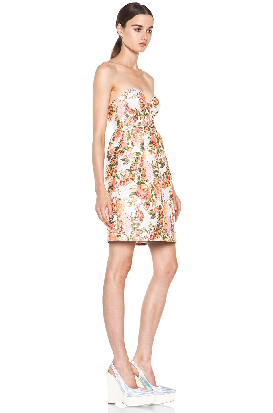Image 3 of Stella McCartney Floral Jacquard Dress in Coral