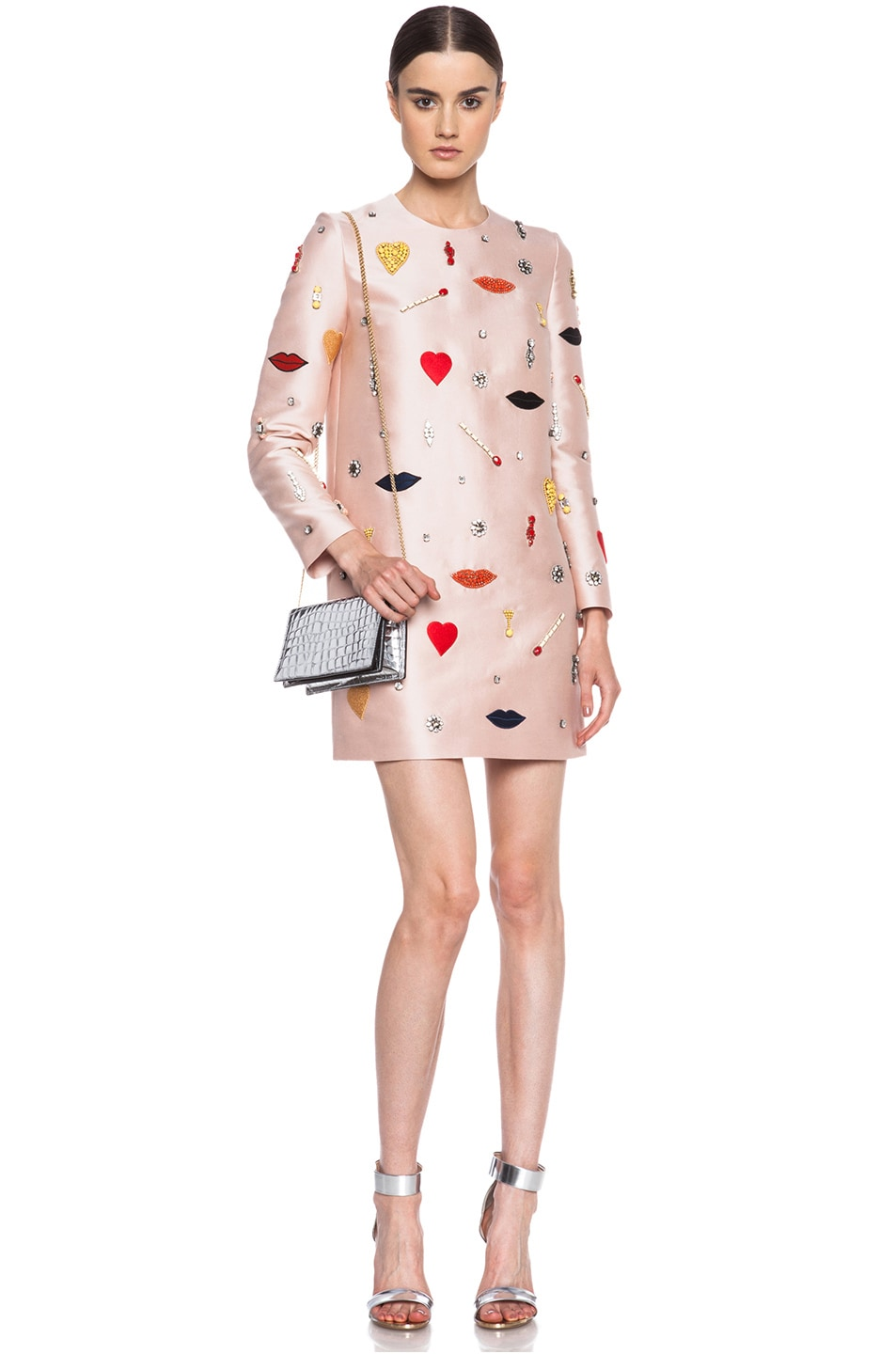 Image 1 of Stella McCartney Embellished Cotton-Blend Dress in Rose