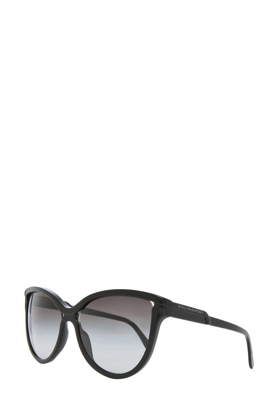 Image 2 of Stella McCartney Rounded Cat Eye Sunglasses in Black & Grey Gradient