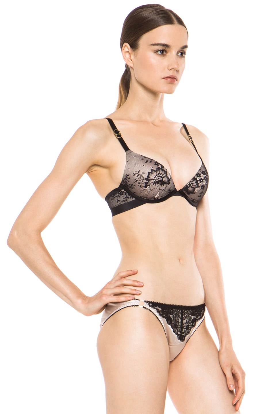 Image 3 of Stella McCartney Lace Plunge Bra in Black