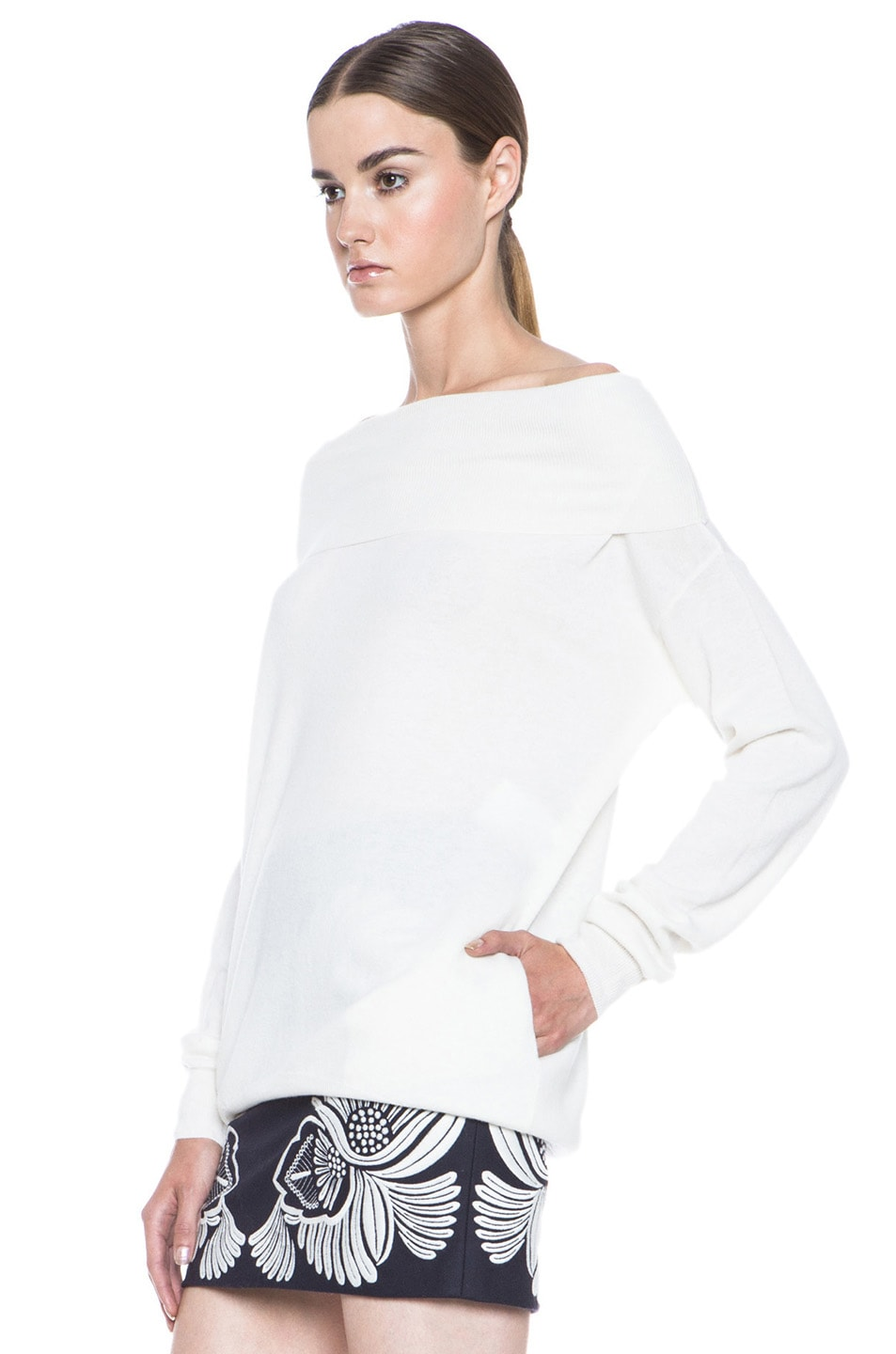 Image 2 of Stella McCartney Off the Shoulder Wool Sweater in Cream