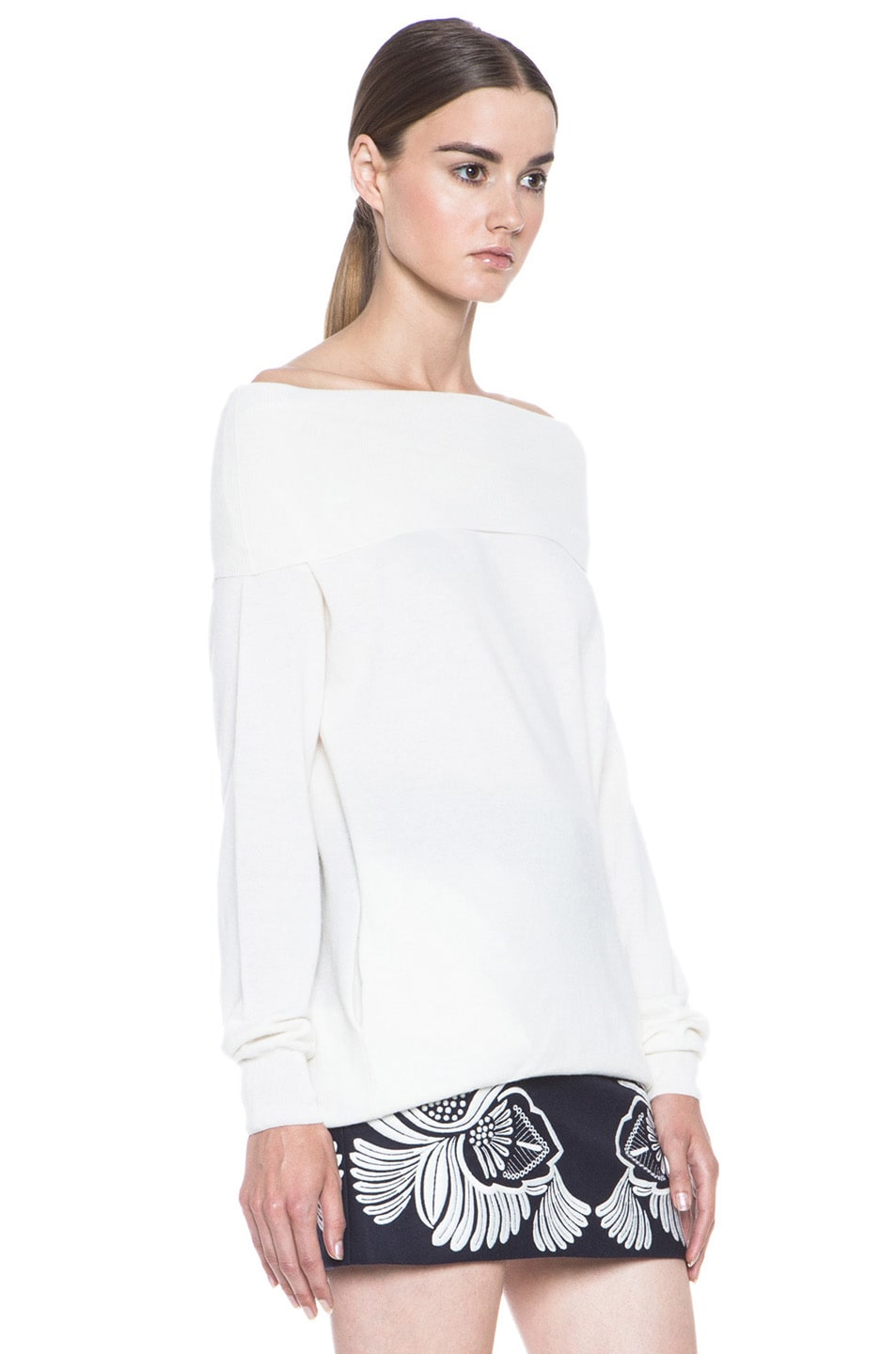 Image 3 of Stella McCartney Off the Shoulder Wool Sweater in Cream