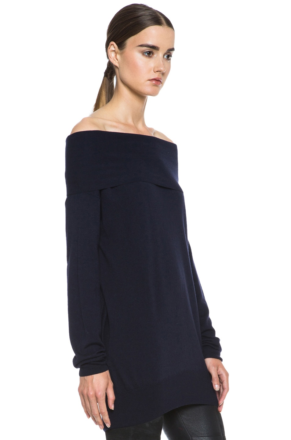 Image 3 of Stella McCartney Off the Shoulder Sweater in Midnight