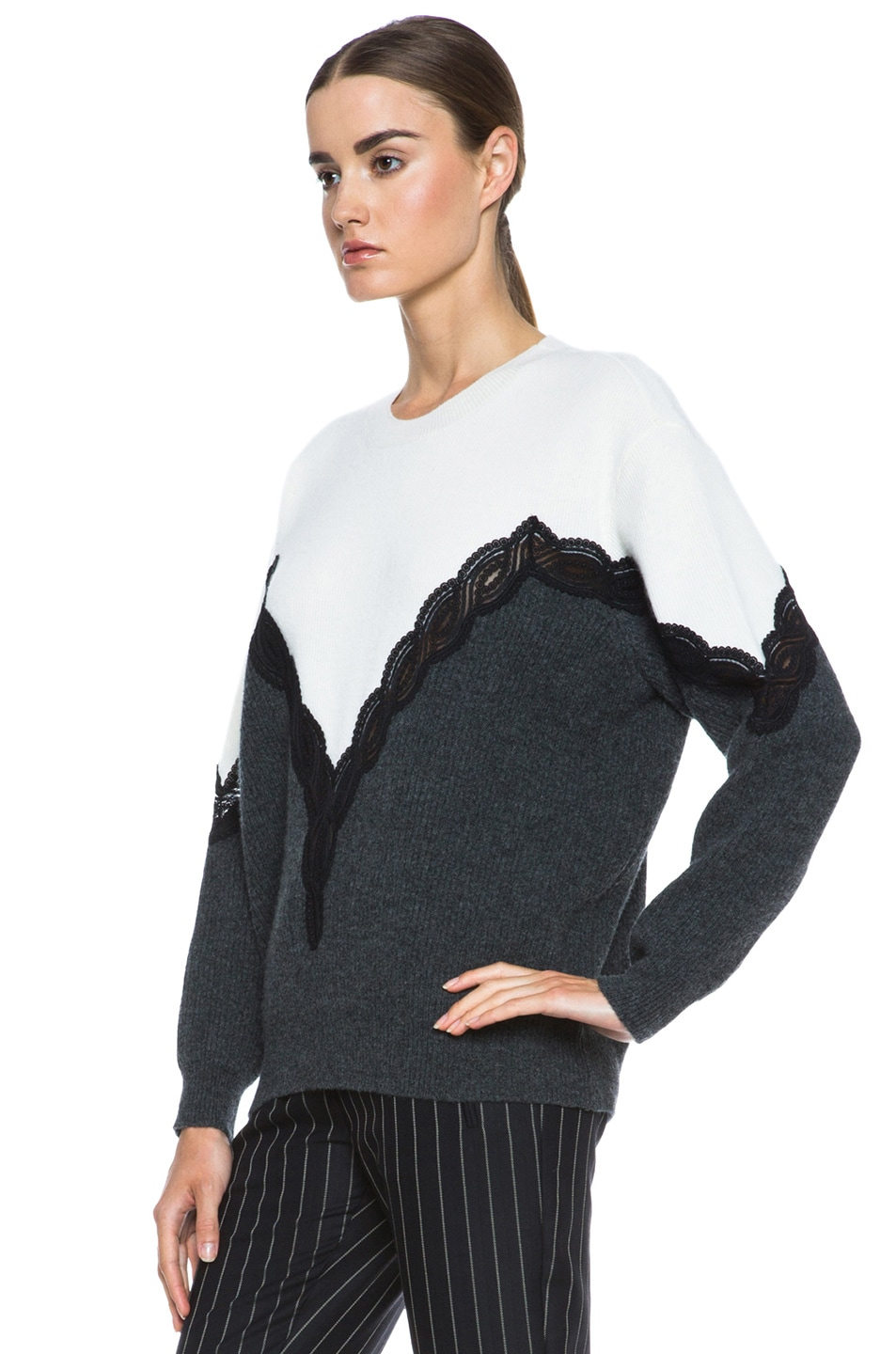 Image 2 of Stella McCartney Lace Wool Sweater in Cream & Charcoal & Black