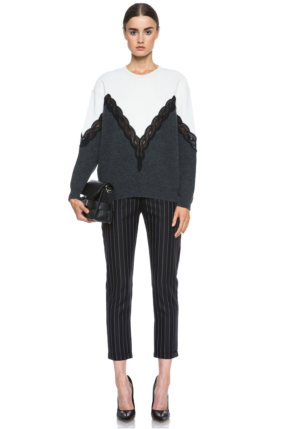Image 5 of Stella McCartney Lace Wool Sweater in Cream & Charcoal & Black
