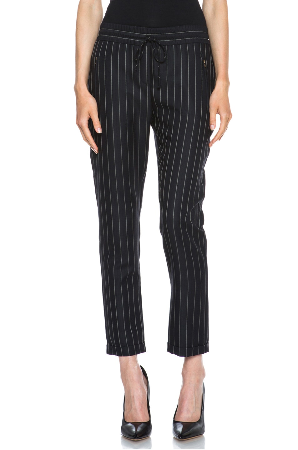 Image 1 of Stella McCartney Taylor Pinstripe Drawstring Wool-Blend Trousers in Black & Cream