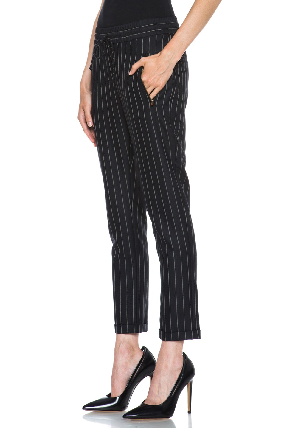 Image 2 of Stella McCartney Taylor Pinstripe Drawstring Wool-Blend Trousers in Black & Cream