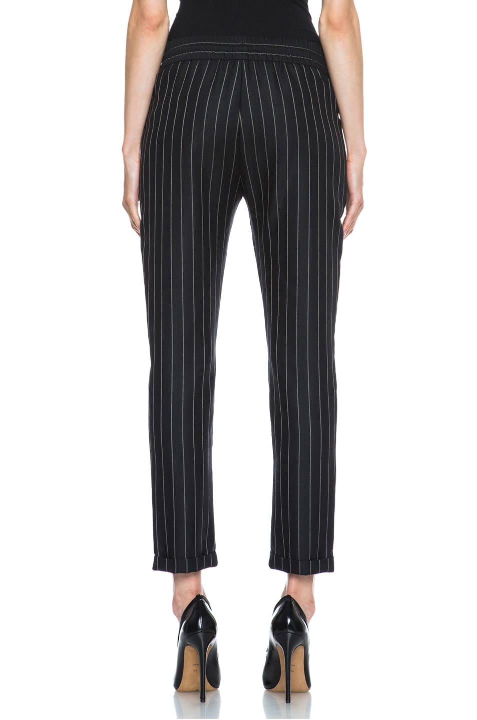 Image 4 of Stella McCartney Taylor Pinstripe Drawstring Wool-Blend Trousers in Black & Cream