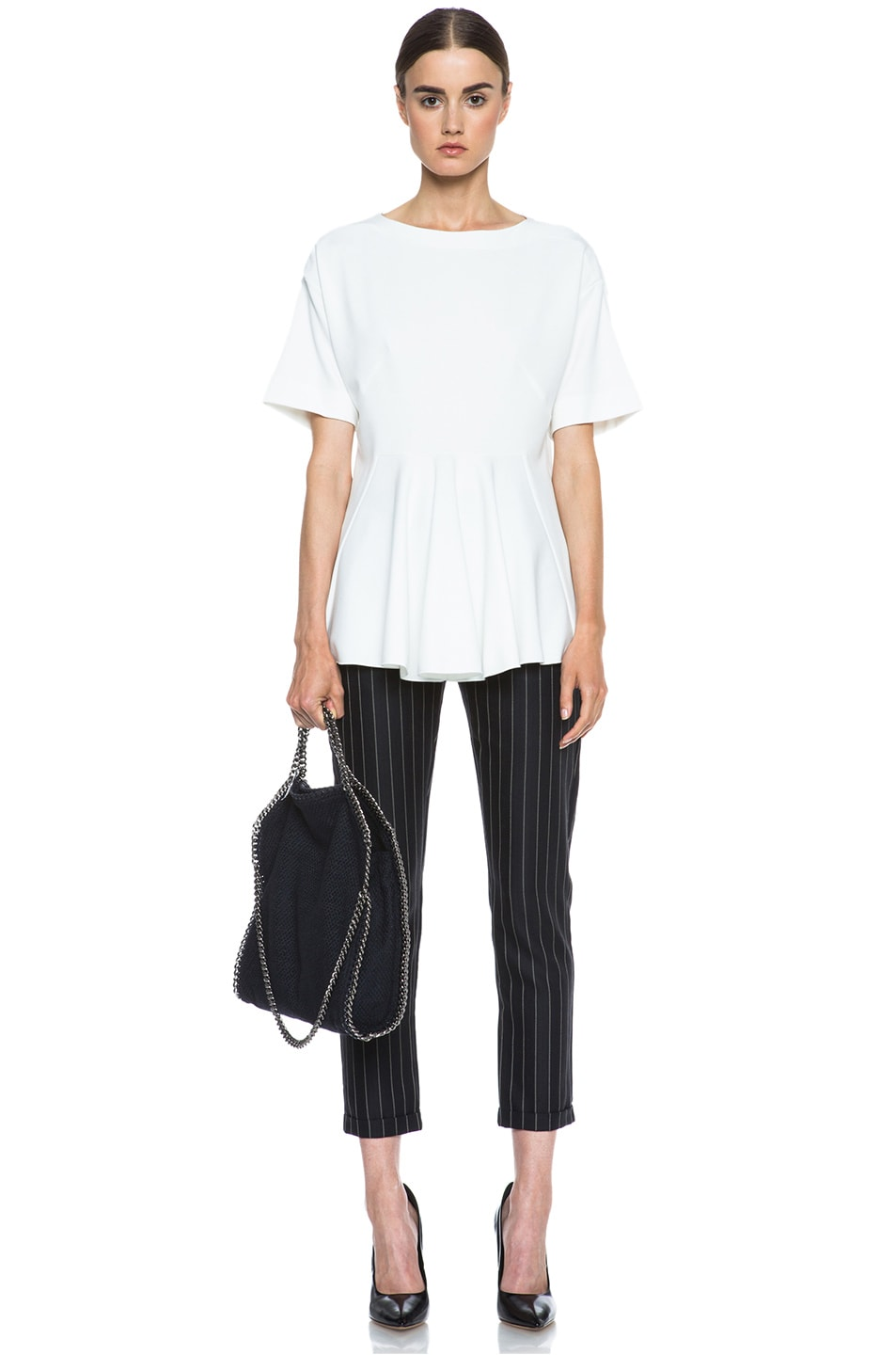 Image 5 of Stella McCartney Taylor Pinstripe Drawstring Wool-Blend Trousers in Black & Cream