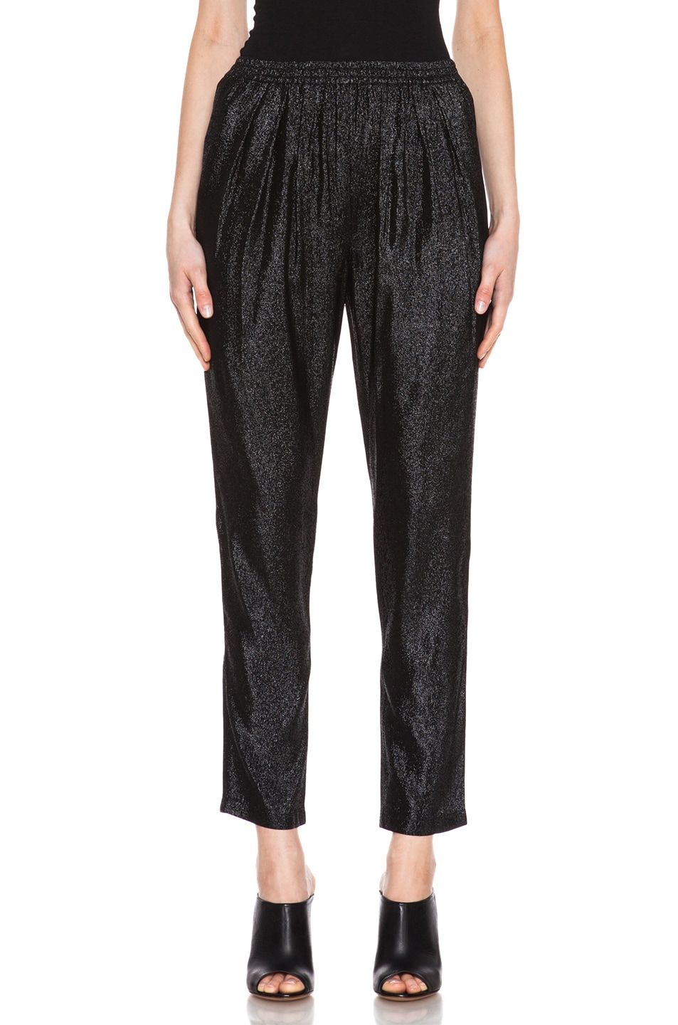 Image 1 of Stella McCartney Elastic Poly-Blend Trouser in Black Shine