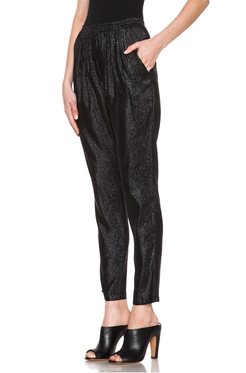 Image 2 of Stella McCartney Elastic Poly-Blend Trouser in Black Shine