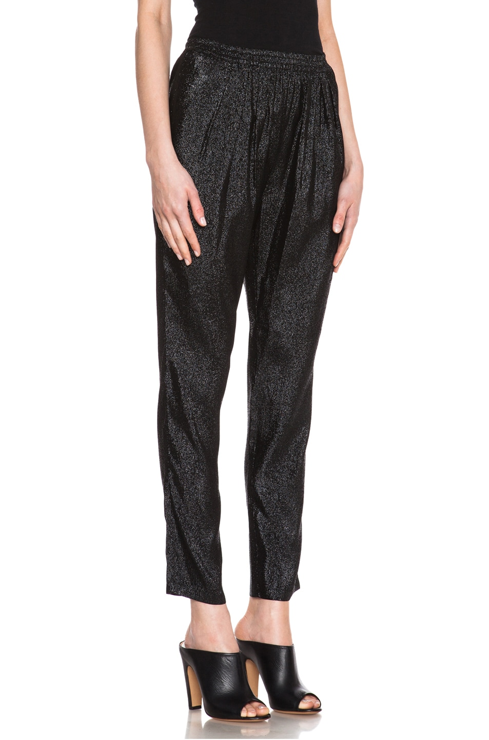 Image 3 of Stella McCartney Elastic Poly-Blend Trouser in Black Shine