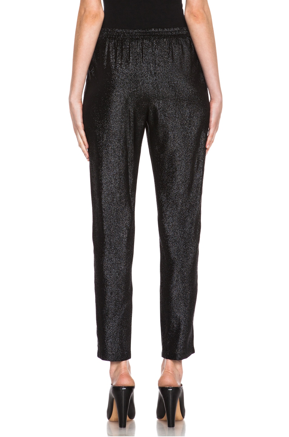 Image 4 of Stella McCartney Elastic Poly-Blend Trouser in Black Shine