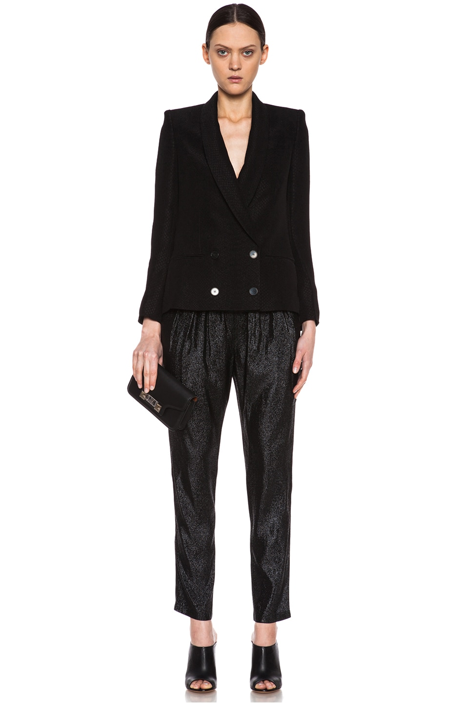 Image 5 of Stella McCartney Elastic Poly-Blend Trouser in Black Shine