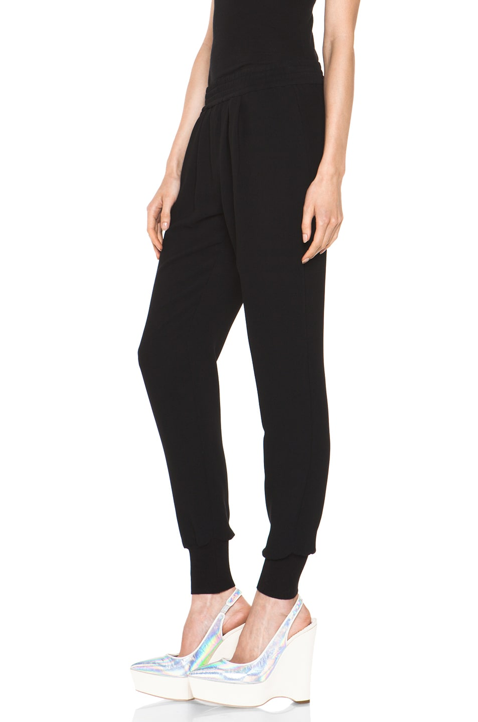 Image 2 of Stella McCartney Dahlia Mix Cady Trouser in Black