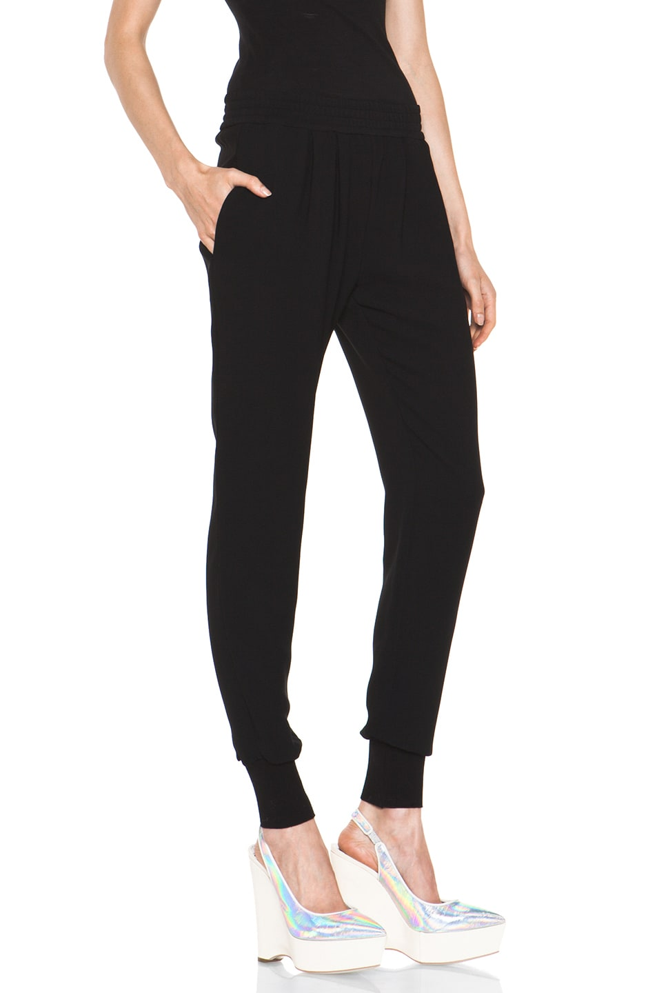Image 3 of Stella McCartney Dahlia Mix Cady Trouser in Black
