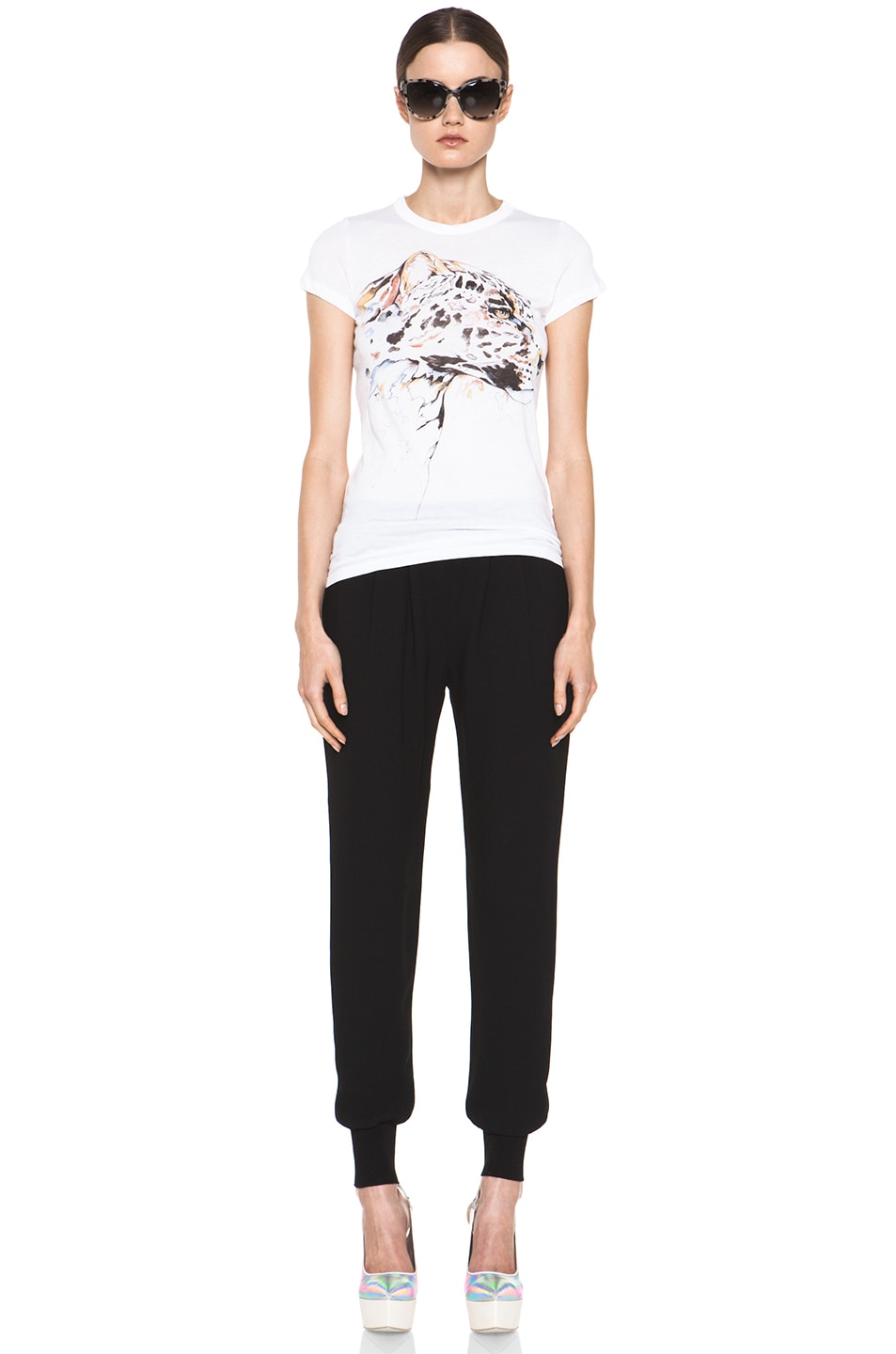 Image 5 of Stella McCartney Dahlia Mix Cady Trouser in Black