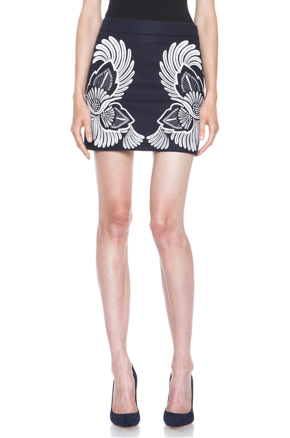 Image 1 of Stella McCartney Applique Embroidered Wool-Blend Skirt in Midnight