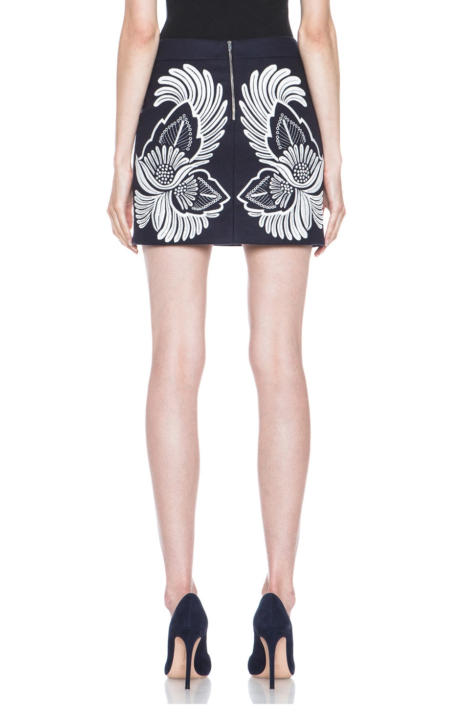 Image 4 of Stella McCartney Applique Embroidered Wool-Blend Skirt in Midnight