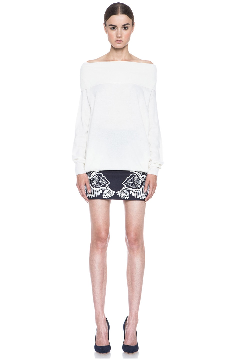 Image 5 of Stella McCartney Applique Embroidered Wool-Blend Skirt in Midnight
