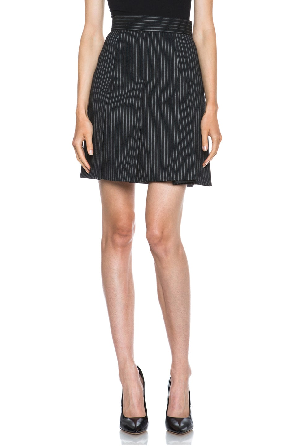 Image 1 of Stella McCartney Valencia Pinstripe Wool-Blend Skirt in Charcoal