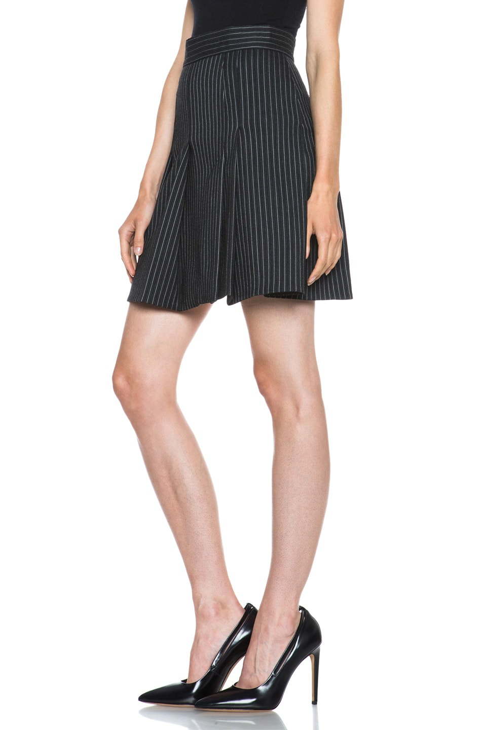 Image 2 of Stella McCartney Valencia Pinstripe Wool-Blend Skirt in Charcoal